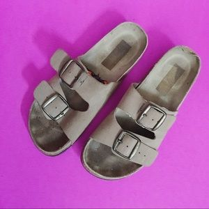 Tan Suede Slide Sandal